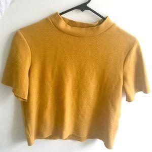 Cropped short sleeve mock neck sweater